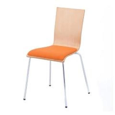 オフィスチェア プライウッドチェア 4脚セット パッド付 シンプル チェア イス オフィス用 オレンジ (  オフィス スタッキング スタッキングチェア 椅子 チェアー 会議椅子 ミーティングチェア オフィス家具 セット )