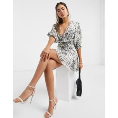 エイソス レディース ワンピース トップス ASOS DESIGN ruffle mini dress in spot and floral print Multi