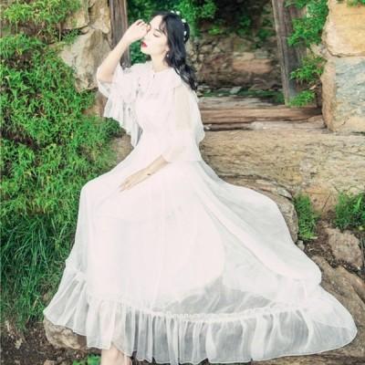 夏新作マキシ丈ワンピース 白 レディースサマードレス ノースリーブ Aラインワンピ 夏 レディース
