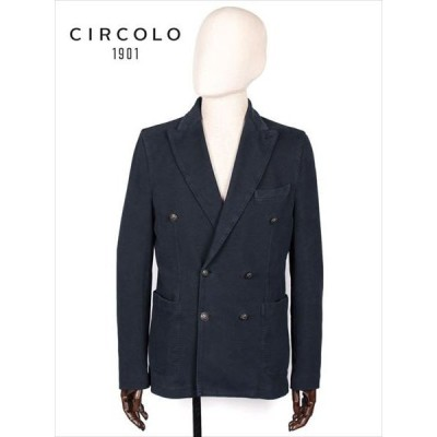 CIRCOLO 1901 6B ダブルブレスト テーラードジャケット ジャージー ネイビー 7CU155701 チルコロ1901 国内正規品