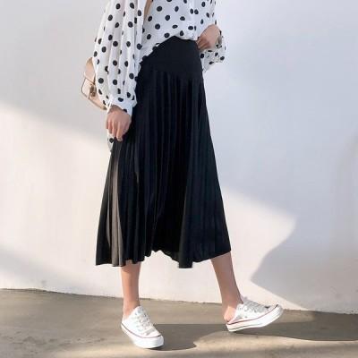 スカート 夏 プリーツスカート ミモレ丈 通勤 オフィス OL アースカラー サテン 上品 華やか きれいめ