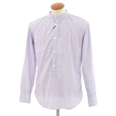 イレブンティ eleventy 総柄 バンドカラー カジュアルシャツ ホワイト×ボルドー×ラベンダー 40