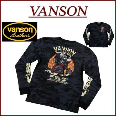 VANSON × TOM & JERRY バンソン コラボ トムとジェリー刺繍 カモフラージュ ロンT TJV-925