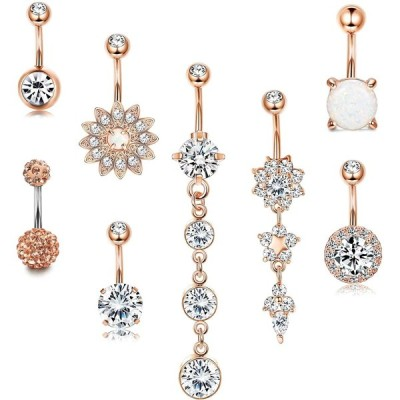 LOYALLOOK 14G Surgical Steel Belly Button Rings Dangle for Women Girls
