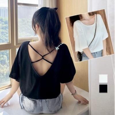 韓国ファッション 新作 Tシャツ バッククロス 裾紐入り カットソー トップス 半袖 ラウンドネック シンプル ゆったり(メール便送料無料)