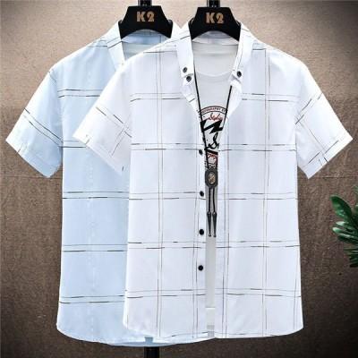 シャツ メンズ 半袖シャツ チェック柄 吸汗速乾 トップス カジュアルシャツ かっこいい 通勤 紳士服 夏服 サマー