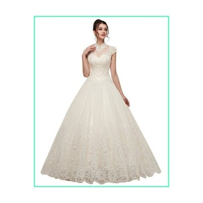 Ikerenwedding Women's High Neck Beaded Sequins Applique Tulle Wedding Dress Ivory US6並行輸入品