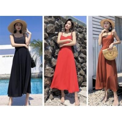 Aライン ワンピース ドレス お呼ばれ ロング丈 ノースリーブ クロスストラップ 夏 リゾート 海 レディース