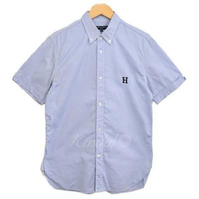 COMME des GARCONS HOMME H刺繍 オックスフォード ボタンダウンシャツ 2014AW サックスブルー サイズ:S (新潟紫竹山店)