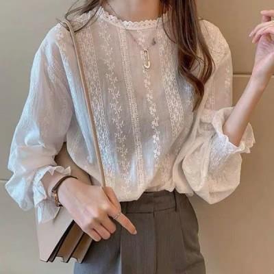刺繍ブラウス 長袖 レディース シャツ パフスリーブ 小花柄 透け感 カジュアル  送料無料