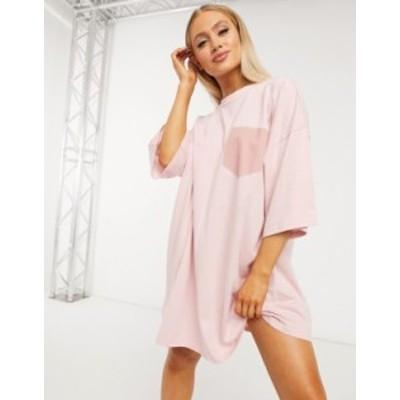 エイソス レディース ワンピース トップス ASOS DESIGN oversized t-shirt dress with patch pocket detail in pink Pink