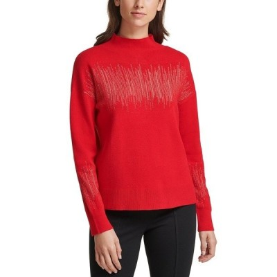 カルバンクライン ニット&セーター アウター レディース Metallic-Stripe Mock-Neck Sweater Rougue/Gold