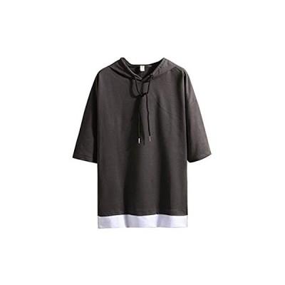 Hisitosa Tシャツ メンズ 半袖 無地 七分袖 パーカー おしゃれ 大きいサイズ カットソートップス フード付き インナー 春 夏 ゆったり