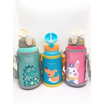 子供用 2WAY 2ウェイボトル水筒 保冷/保温 真空断熱 316ステンレス 水筒 コップ付き 600ml (ウサギ、犬、恐竜)