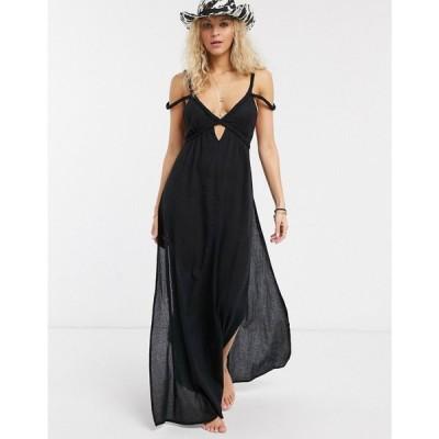 エイソス ASOS DESIGN レディース ビーチウェア ワンピース・ドレス 水着・ビーチウェア plait maxi beach dress in textured black ブラック