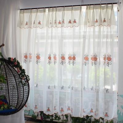 ピンチプリーツタイプ カーテンバランス付きカーテン 幅143cm 高225cm ピンク 薔薇刺繍