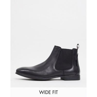 ベンシャーマン メンズ ブーツ&レインブーツ シューズ Ben Sherman wide fit chelsea boots in black leather Black