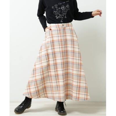 【ダブルネーム】 チェックフレアスカート レディース オレンジ FREE DOUBLE NAME