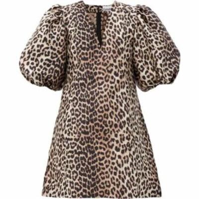 ガニー Ganni レディース ワンピース ミニ丈 ワンピース・ドレス Puff-sleeve leopard-jacquard mini dress Brown