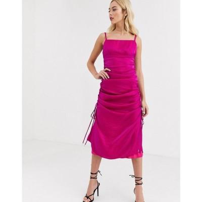 ファインダーズ キーパーズ Finders Keepers レディース ワンピース キャミワンピ ワンピース・ドレス rouche detail satin cami dress in fuscia