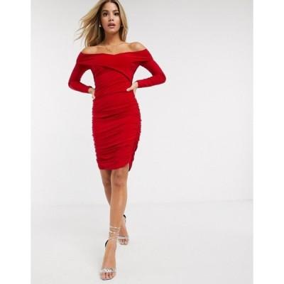 クラブエル ロンドン レディース ワンピース トップス Club L sweetheart long sleeved ruched mini dress in red