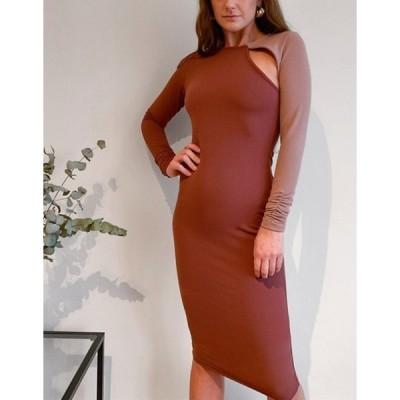 エイソス レディース ワンピース トップス ASOS DESIGN long sleeve cutout rib midi dress with open back in contrast color