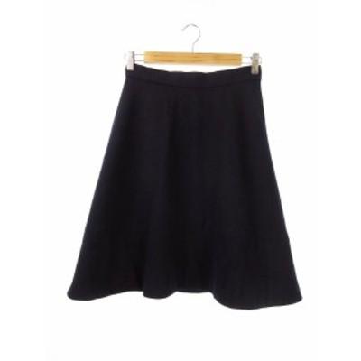 【中古】デミルクス ビームス Demi-Luxe BEAMS スカート 台形 フレア ひざ丈 ウール 36 紺 ネイビー /CK11 レディース