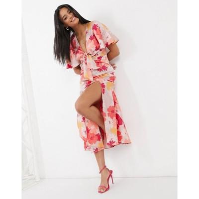 エイソス ミディドレス レディース ASOS DESIGN washed satin midi tea dress in floral print エイソス ASOS ピンク