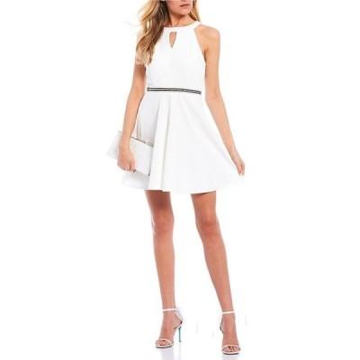ハニーアンドロージー レディース ワンピース トップス Sleeveless Halter-Neck Keyhole Triple Beaded Waist Dress