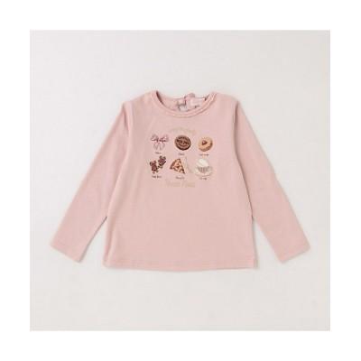 <mezzo piano/メゾ ピアノ> クッキー刺しゅう長袖Tシャツ ピンク【三越伊勢丹/公式】
