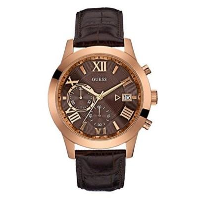 インポート・メンズ・ビジネス&カジュアル腕時計GUESS Men's Brown and Rose Gold-Tone Chronograph Watch 正規輸入品