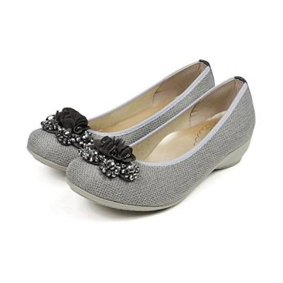 [セレブル] (ファーストコンタクト) FIRST CONTACT 日本製 パンプス レディース 歩きやすい ぺたんこ ビジュー 疲れない 靴 グレー