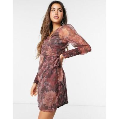 ヴェロモーダ ミディドレス レディース Vero Moda organza wrap dress with volume sleeves in purple floral エイソス ASOS