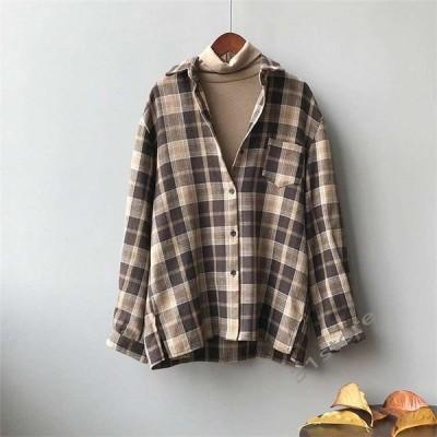 シャツレディースチェックシャツトップスブラウスボタンシャツシャツアウター長袖ゆったり春夏カジュアル30代20代コーデ