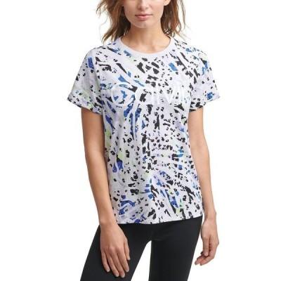 カルバンクライン Tシャツ トップス レディース Leopard-Print Logo T-Shirt Sketchy Animal Bold Blue