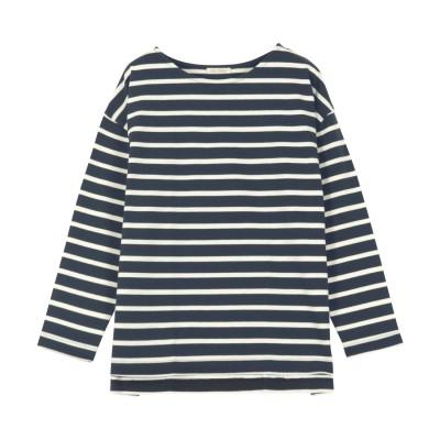 コウベレタス KOBE LETTUCE ゆったり ボーダーシンプルカットチュニック【ノーマル】 [C3864] (ネイビー×オフ)体型カバー Tシャツ ロングTシャツ チュニック 大きめサイズ