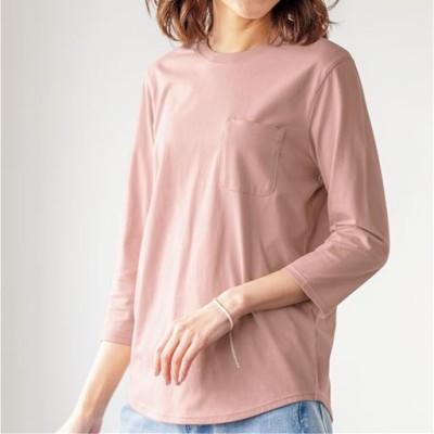 ポケット付きTシャツ(綿100%)/スモークピンク/LL