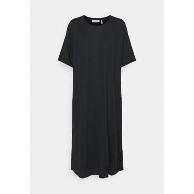 ヌー イン ワンピース レディース トップス SHORT SLEEVE SIDE SPLIT MIDI DRESS - Jersey dress - black