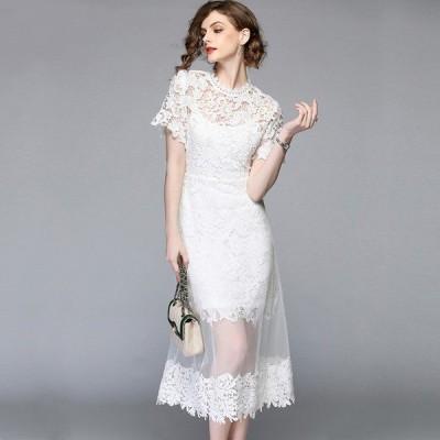 袖あり ドレス パーティードレス ロングドレス レース メッシュ シースルー 半袖 ロング丈 Aライン 大きいサイズ レトロ オードリー 被らない