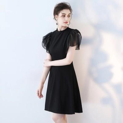 パーティードレス  ミニドレス ブラック 黒 パフスリーブ【XS-XXLサイズ】