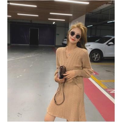 シンプルだからこそ毎日使いたくなる。韓国ファッション 2020年秋 冬 新スタイル ギャザリング 上品映え 小さい新鮮な sweet系 長袖 ミニスカート 女性 ニット  Vネック 長袖 ワンビース