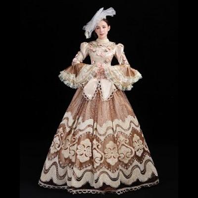 貴族 ドレス Aライン シャンパン プリンセスライン 長袖 ステージ衣装 舞台衣装 オペラ声楽 中世貴族風 お姫様ドレス 貴族ドレス パーテ