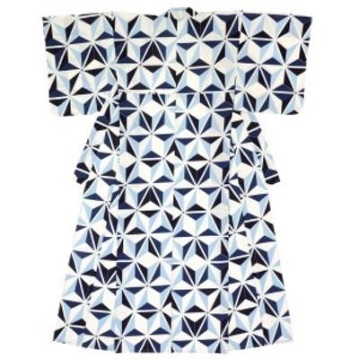 レディース浴衣 bonheur saisons ボヌールセゾン 白系 オフホワイト 青 ブルー 麻の葉 綿 紅梅 夏祭り 花火大会 女性用 仕立て上がり