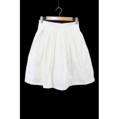 【中古】シンゾーン Shinzone スカート ギャザー ひざ丈 36 白 ホワイト /YS34 レディース