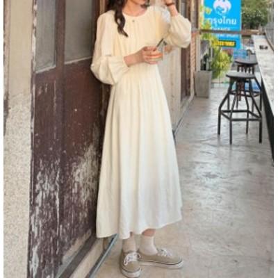 韓国 ファッション レディース ワンピース ロン ハイウエスト フレア 長袖 無地 ゆったり シンプル カジュアル 大人可愛い 春 新作