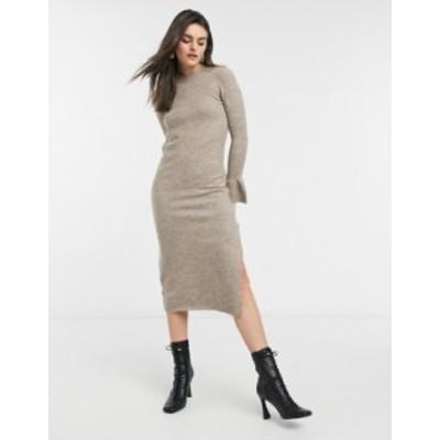 エイソス レディース ワンピース トップス ASOS DESIGN knit dress with bell sleeve detail in taupe Taupe