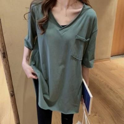 Tシャツ レディース きれいめ 40代 春夏 カジュアル 半袖Tシャツ ブラウス トップス  オシャレ 韓国風 ゆったりカットソー 大きいサイズ