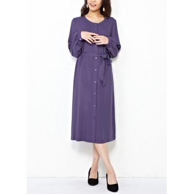 【大きいサイズ】 共布リボン付シャツワンピース ワンピース, plus size dress