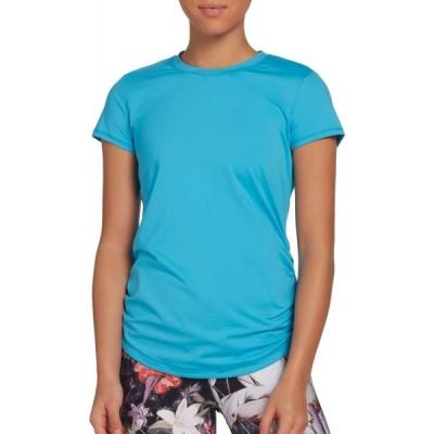 キャリー アンダーウッド CALIA by Carrie Underwood レディース ヨガ・ピラティス Tシャツ トップス Flow Crewneck Ruched T-Shirt Blue