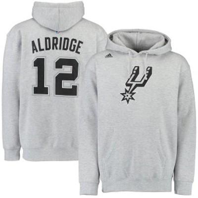 アディダス メンズ パーカー・スウェット アウター LaMarcus Aldridge San Antonio Spurs adidas Name & Number Pullover Hoodie Gray
